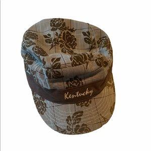 Vintage Kentucky Plaid Cap Velour Rose Grey Brown